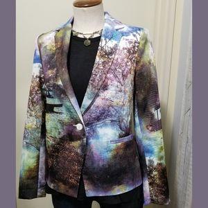Inbdue Multicolor Photo Printed Cotton Blazer 4